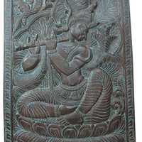 Decorative Panel Lord Krishna with His Flute, Wood Carving Door Panels