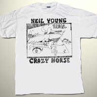 NEIL YOUNG & Crazy Horse Zuma deluxe art unique hand-painted T-SHIRT