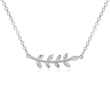 Sterling Silver Leaf Design Necklace - 925 Silver Simple Horizontal Leaves Necklaces for Women