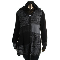 Style & Co. Womens Plus Knit Heathered Cardigan Sweater