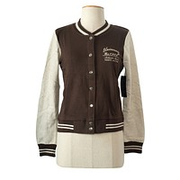 Colorblock Buttons & Pockets French Terry Varsity Embroid Letterman Jacket