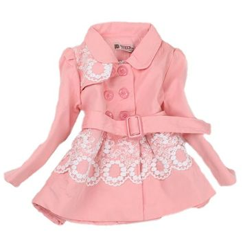 Baby Girls Princess Flower Long Jacket Outwear Trench Coat Autumn Winter Clothes