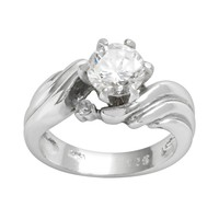 Sterling Silver Cubic Zirconia Swirl Ring (Stone/Silver)