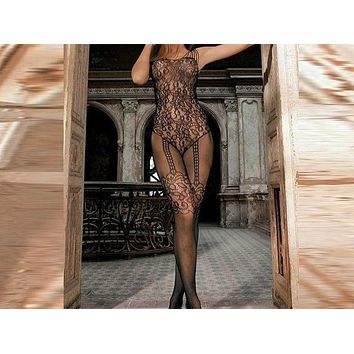 Women Lace Sexy Stocking Sleeveless Bodysuit Lingerie