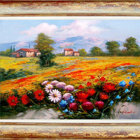 n1 Italian landscape enjoy and colors of Luigi Conte original oil on canvas + frame