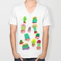 Colored Cactus Unisex V-Neck by Yuval Ozery