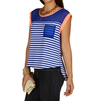 Royal Striped Flyaway Top