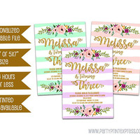 Printable Floral Birthday Invitation - Trendy Floral Striped Invitation - Gold Glitter - Girl Birthday - Woman Birthday - Purple Pink Green