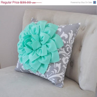 Mint Green Dahlia on Gray Damask Pillow - Decorative Pillow - Ozborne Pillow -
