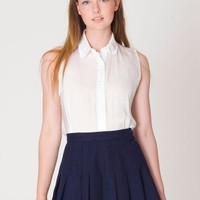 American Apparel - Sleeveless Crepe de Chine Button-Up