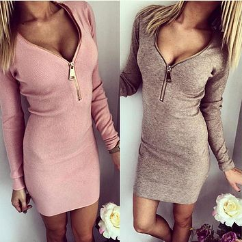 Fashion Tight fitting Dress Tight Surround Hip Screw V neck Zipper Open Chest Warm Long Sleeved Pencil Women Dress clothes