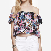Printed Off The Shoulder Peasant Blouse from EXPRESS