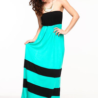 COLOR BLOCK TUBE MAXI DRESS