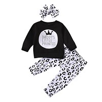 Daddy's Little Princes Long Sleeve Shirt and Leopard Print Pants with Headband Set Daddy's Girl Set