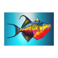 Psychedelic Colorful Triggerfish Fish Drawing Canvas Print