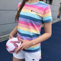 """Champion"" Women Casual Fashion Multicolor Rainbow Stripe Short Sleeve Shorts Set Two-Piece Sportswear"