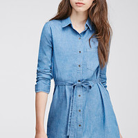 Buttoned Denim Shirt Dress