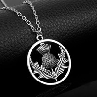 Outlander Scottish National Flower Pendant Necklace Oval Scotland Thistle Necklace With Heart Lovely Pendant Thistle Jewelry