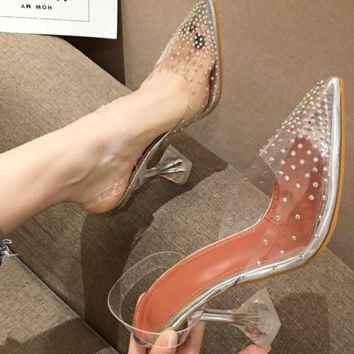 Hot style crystal with transparent point drill baotou pointy sandals for women