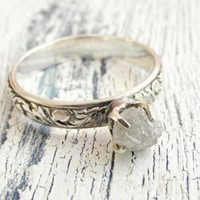 Customized Uncut Rough Diamond Ring Rustic Sterling Silver Band | WestWindCreations - Jewelry on ArtFire