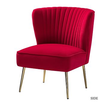 Velvet Accent Chair in Red