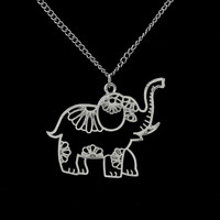 """Women Jewelry Vintage Silver Hollow Out Elephant Pendant Necklace 26"""""""