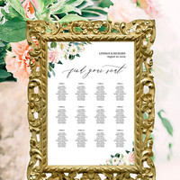 Wedding seating arrangement template, Downloadable seating chart poster, Seating chart alphabetical order, Floral blush pink, Find your seat