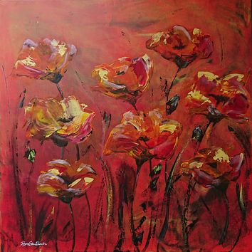 """""""Red Poppies"""" by Fiona Skei Bech, Acrylic on Canvas"""