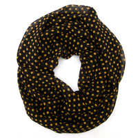 Cute Polka Dot Cowl Infinity Scarf Circle Endless Loop Scarf Black with Gold Polka Dot Scarf Poe-Poe's Just Enough Scarf Womens Scarf