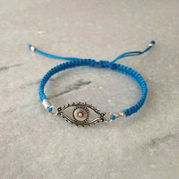 Summer Wristwear, Blue Evil Eye Bracelet, Talisman Protector Jewelry, Good Luck Charm