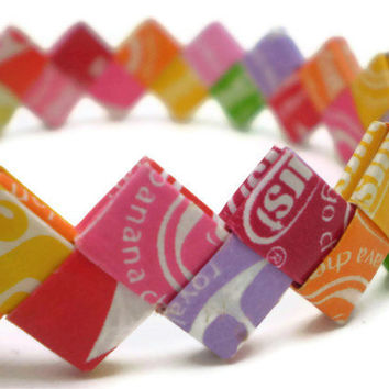 Starburst Multi-Flavor Recycled/Upcycled Candy Wrapper Bracelet - Great Valentine Gift for the tween or teen