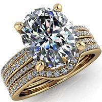 Jameson Oval Center Stone Triple Diamond Channel 4 Prong Ring