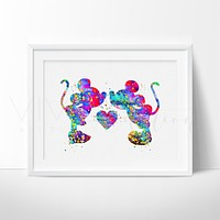 Mickey & Minnie Mouse Watercolor Art Print