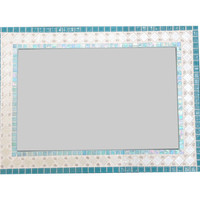 SALE --  Aqua and White Mosaic Wall Mirror, In Stock and Ready to Ship