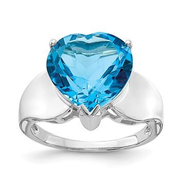 Sterling Silver Rhodium Blue Topaz Gemstone Birthstone Ring Fine Jewelry Gift for Her
