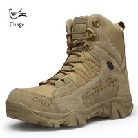 2018 New Outdoor Leather Hiking Shoes Boots Military Tactical Boots Men Desert Combat Boots Professional Safety  Hiking Shoes