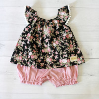 Baby clothes, baby girl top and bloomer set, floral baby girl clothes, size from 3 to 24 months