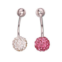Jiatai® 2pc 14g Mixed Color Cute Belly Ring Navel Surgical Steel Unique Button Body Piercing Ring Jewelry (Pink)