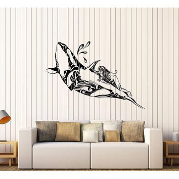 Vinyl Wall Decal Whale Girl Ocean Sea Pattern Marine Art Stickers Unique Gift (440ig)
