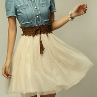 Denim Spliced Chiffon Dress with Belt
