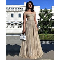Golden Sequins Prom Dresses Sparkly Tulle One Cap Sleeve Formal Dresses