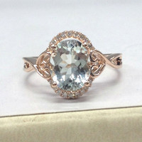 Aquamarine Engagement Ring 14K Rose Gold!Diamond Wedding Bridal Ring,Floral Flower Design,7x9mm Oval Cut Blue Aquamarine,Fashion Fine Ring