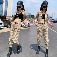 LV Louis Vuitton New Popular Women Casual Round Collar Top Pants Set Two-Piece