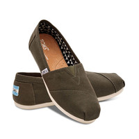 TOMS Olive Canvas Women's Classic Shoes