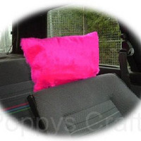 Barbie hot Pink faux fur furry fluffy fuzzy car headrest covers 1 pair