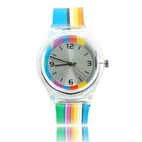 6018 Round Shaped Silver Watch Dial Colorful Rainbow Plastic Cement Watchband Women's and Kid's Wrist Watch