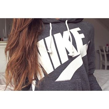 "Women ""NIKE"" Hooded Top Sweater Pullover Sweatshirt Hoodie"