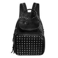 Black Faux Leather Rivet Zippered Backpack