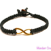 CLEARANCE SALE - Black Infinity Bracelet, Gold Tone Infinity Charm, His Hers, Hemp Jewelry for Couples, Anniversary Gift