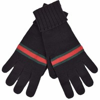 DCCKRQ5 Gucci Men's Black Green Red Web Stripe Wool Winter Mittens